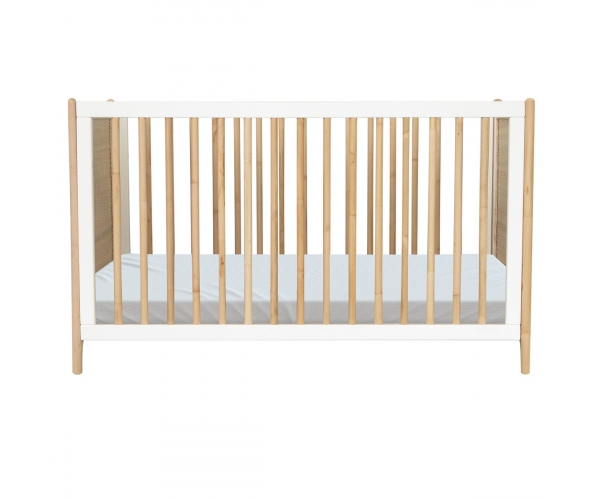 Océania Cedar and Rattan Weave Baby Bed 60x120cm White