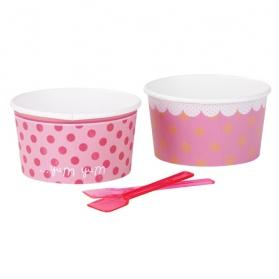 Pink Lollipop ~Set de 8 pots à glace rose à pois avec les petites cuillères~