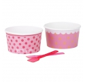 Lollipop pink ~Pack of 8 paper ice cream bowls and spoons~