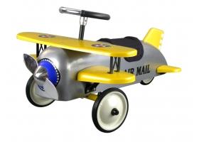 Porteur Avion biplan en métal jaune et gris